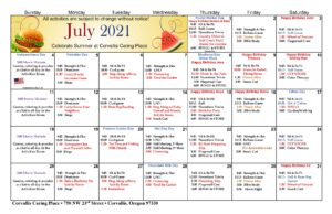 Calendar of Assisted Living activities for July 2021